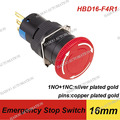 dia.16mm 1NO+1NC mushroom head waterproof push button switch 5A 250V emergency stop switch