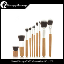 Wholesale Low Peice 11Pcs Bamboo Handle Makeup Brushes With Bag