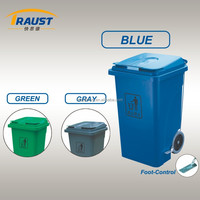 Outdoor eco-friendly plastic recycle dustbin with wheels