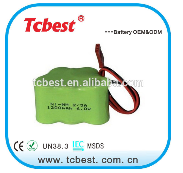 High quality 2/3a 1200mah ni-mh battery 6V