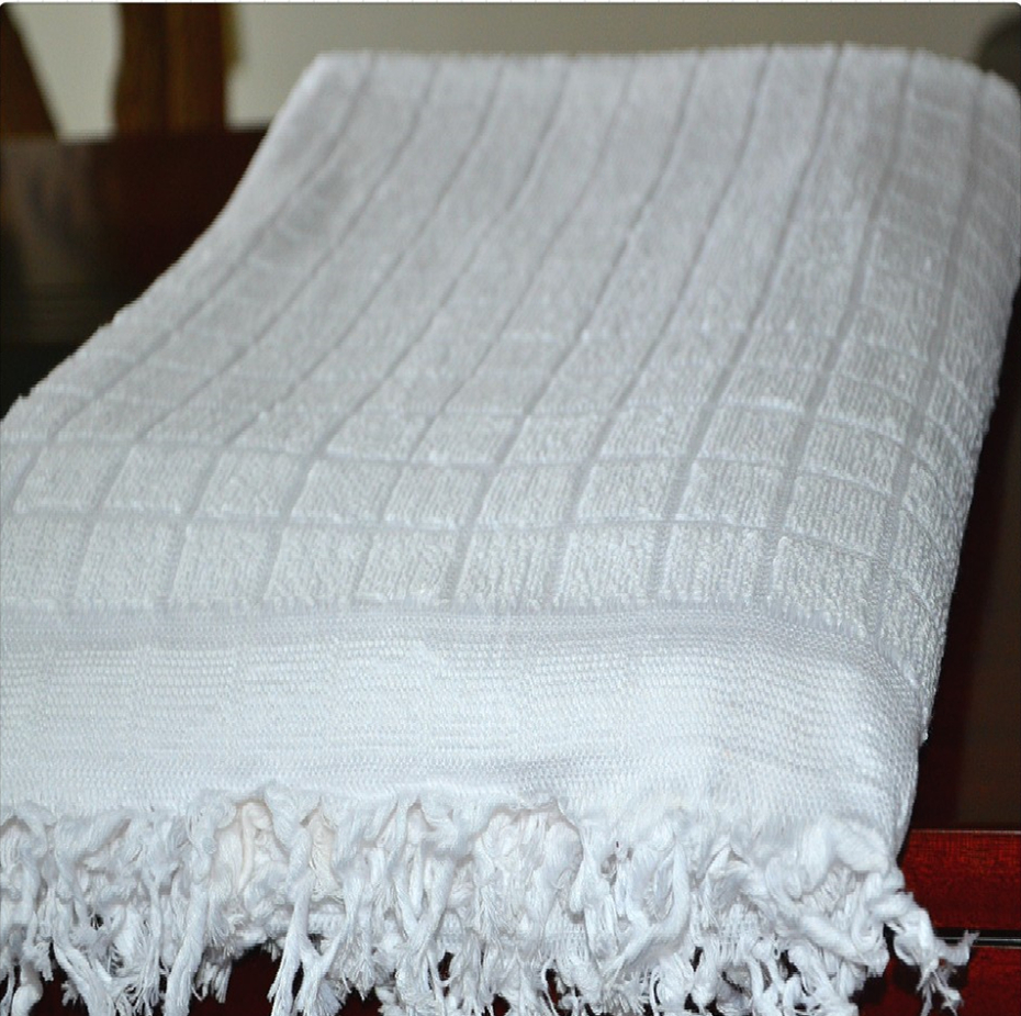 premium 100 % cotton (or polyester ) plain jacquard white ihram towels