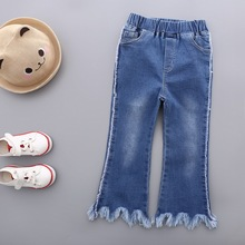 S33441W Girls Denim Pants Kids Flares Bell-bottomed Soft Jean Pants