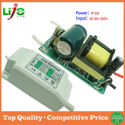 9w constant current 300ma ac85~265V led driver with plastic cover for all kind of led light