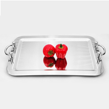 18inch 20inch silver highly mirror polished decorative stainless steel serving tray with handles