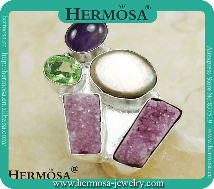 Hermosa Jewelry Red Drusy Amethyst Three Stone 925 Sterling Silver Ring H801