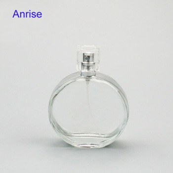 Wholesale 100ml Round Flat Clear Glass Perfume Bottle Brand New Decorative Parfum Spray Bottle with Protective Silver Frame