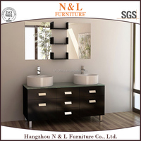 High Quality Solid Wood Bathroom Cabinet, Glass Wash Basin, PVC Bathroom Vanity B-8210 for double bowl bathroom vanity