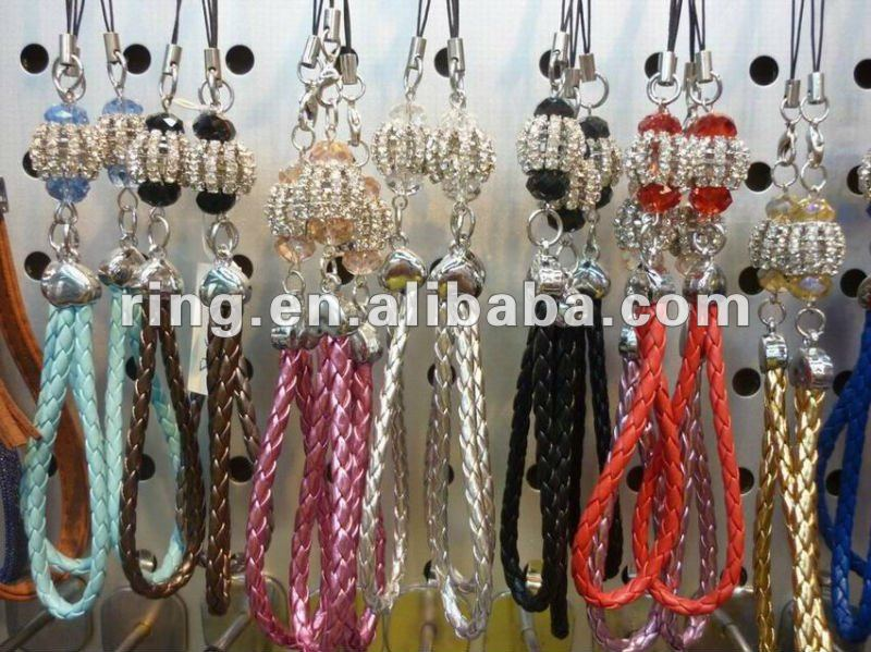 Fashion handmade leather weave crystal ball mobile chain