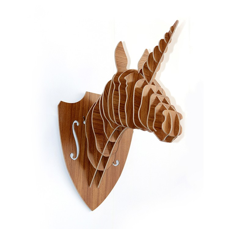 wholesale wall hanging carved wood decorative unicorn head