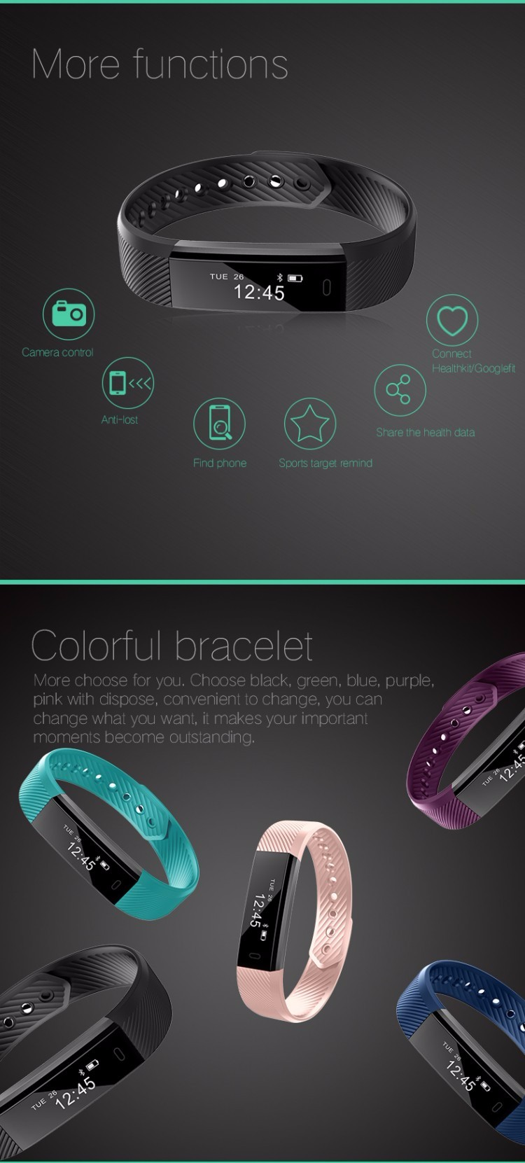 "Super Light 0.86"" OLED Screen Waterproof Pedometer Veryfit Smart Wristband"