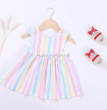 Children Long Frocks Designs High Quality Button Colorful Ruffles Baby Dress Girls