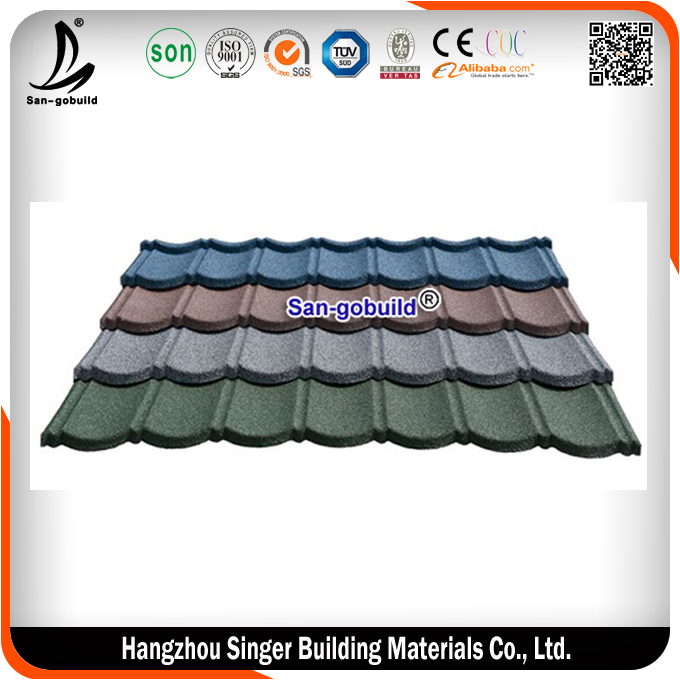 Sangobuild Color Stone Coated Roofing Shingles/Aluminum Zinc Steel Roof Tiles