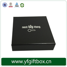 Black fancy packaging box custom silver logo key ring box
