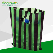 color customized stripe die cut plastic shopping bag manufacturer