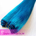 color Blue straight Malaysian human hair, Machine made hair weft