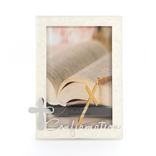 Religion christening metal photo frame with cross decoration