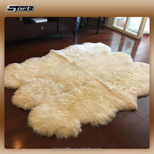 Round and thick long hair sheepskin fur rug beige