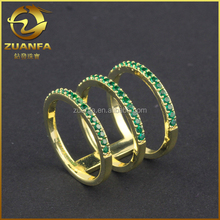2015 latest designs full finger knuckle ring for lady's emerald CZ mirco paved 18K gold plated dress ring