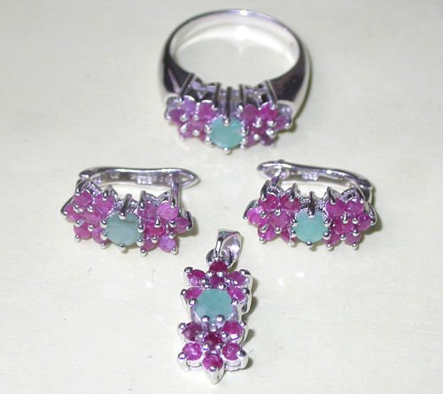 925 Sterling Silver Jewelry Set with Natural Gemstones