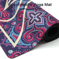 Eco friendly thick natural rubber yoga mat,mat for yoga with yoga mat strap