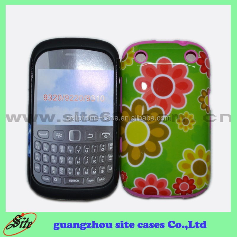 Water transfter 2 in 1 PC silicon custom cover case for blackberry 9320