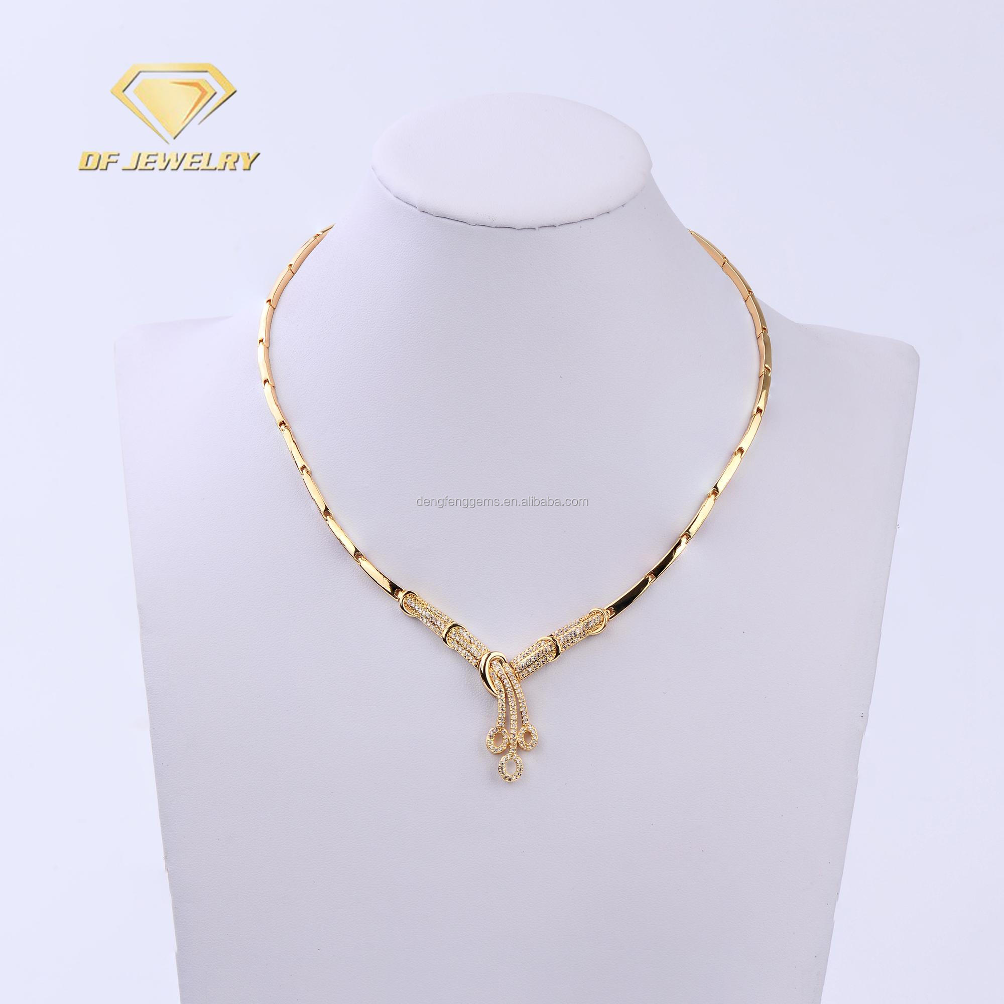 Cheap Wholesale AAAAA Gold Luxury Brass Wedding Stone Jewelry Set