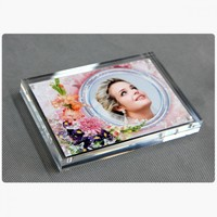 cheap price clear acrylic 5x7 magnetic block photo frame wholesale