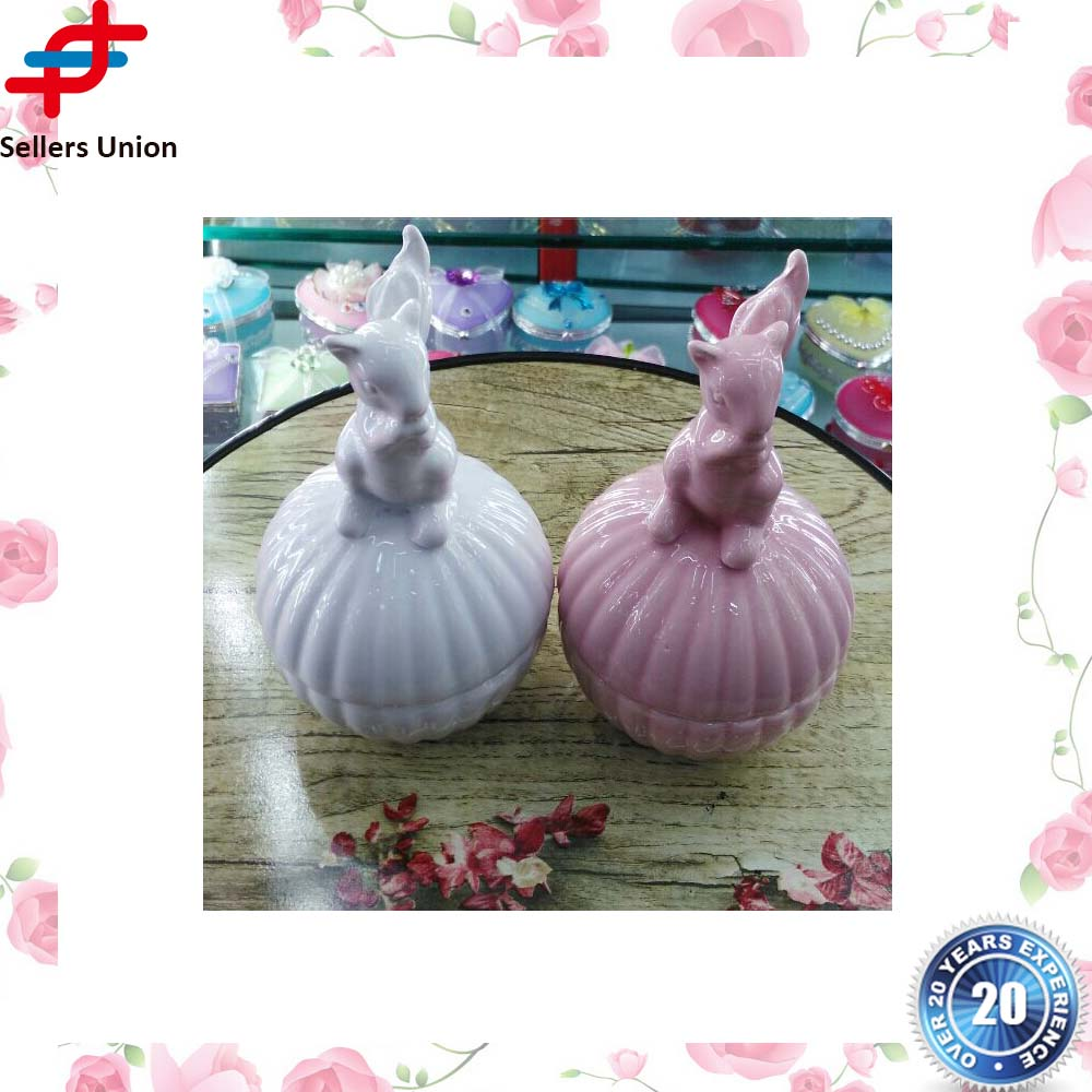 Cute Rabbit Ceramic Candy Gift Box and Jewelry Trinket Container for Wedding Party Decor