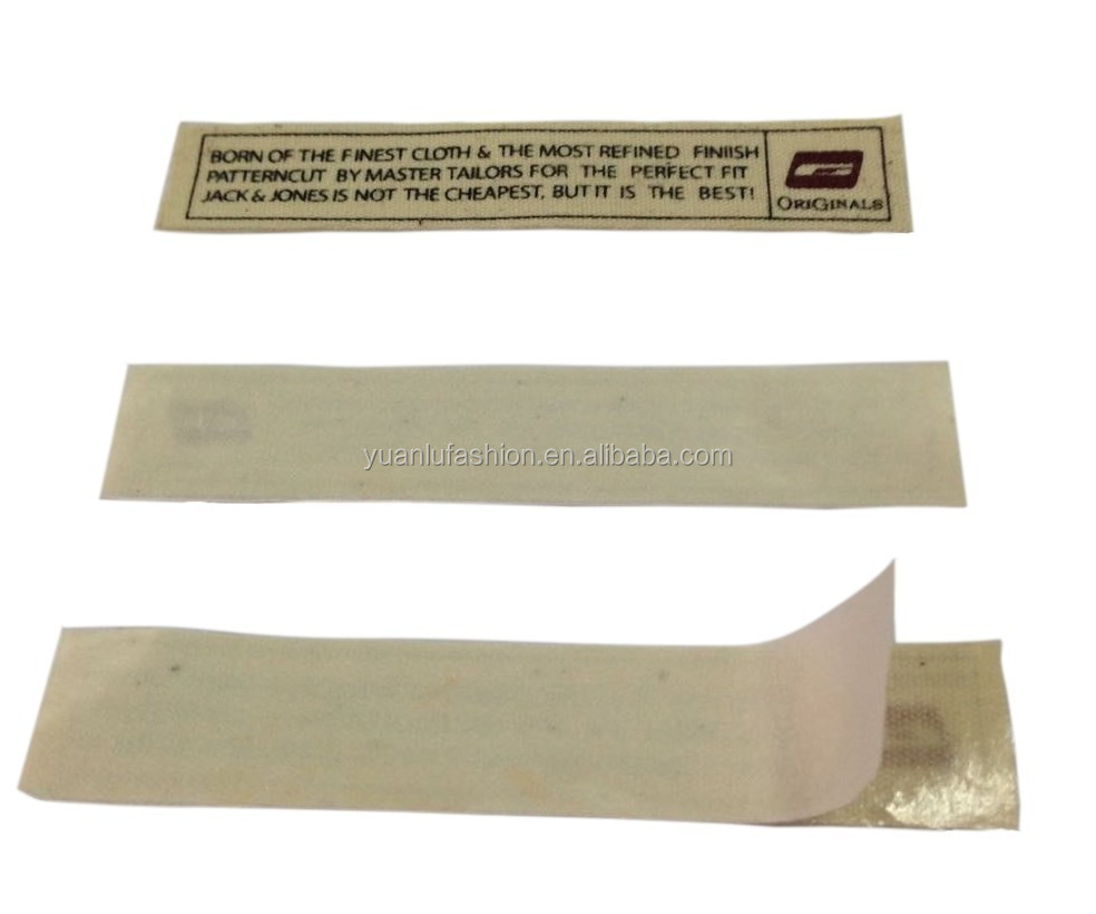 cotton or other material printed iron on label for clothing