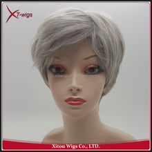 Cheap Synthetic Short Style Grey Hair Wig For Black Women