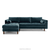 Blue Crushed Velvet Tufted daybed couch sofa