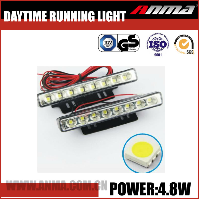 Safety Universal top new style Slim swift 4.8w solar power white,Yellow Car LED daytime running light AM750V57