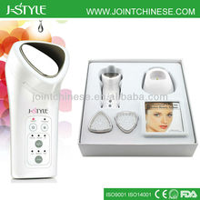 2014 3-IN-1 microcurrent galvanic, red blue led light home use skin lifting electronic facial machine