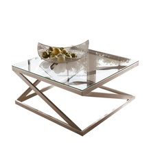 FC-CT-041 brushed metal frame glass top snack table