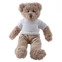 sunking Valentine's Day gift High quality white sweater light brown teddy bear plush toys