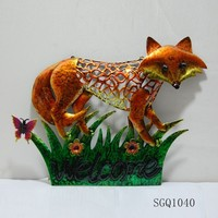 metal fox wall hanging decoration with welcome sign for home decor