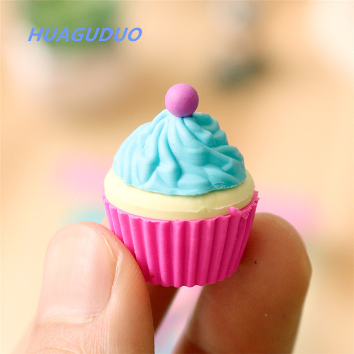 United States kids school student stationery items Creative Boxed Cake Dessert Cup eraser set fancy food shaped erasers