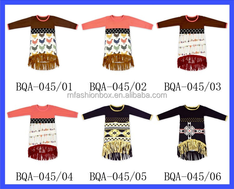 Long Sleeves Baby Girls Dresses With Fringe Baby Cotton Frocks Designs