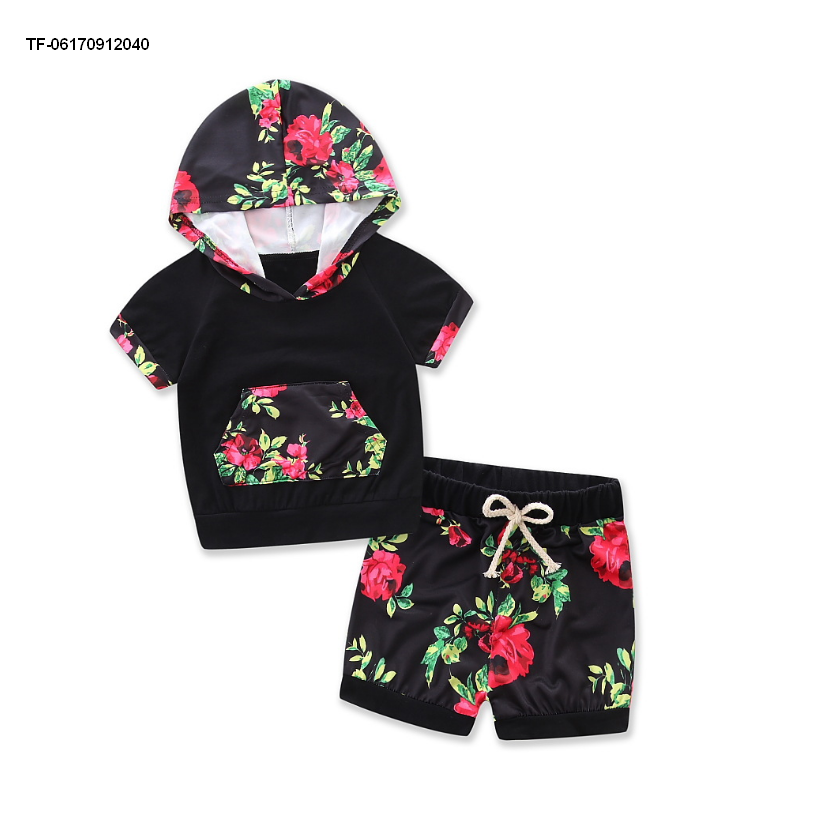 Kids Girl Black Floral Printed T-shirt + Pants clothing