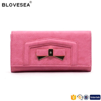 Guangzhou factory direct trendy style bowknot ornament plain color ladies pu leather wallet