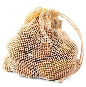 Wholesale reusable drawstring cotton mesh bag fruit mesh grocery produce net bag