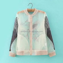 Wholesale embroidered organza fabric jacket with zipper, sun-proof fabric organza for young ladies coat