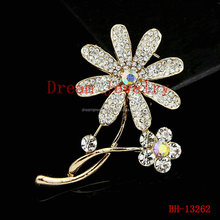 Love brooch fashion female crystal brooches gold amazing two flower corsage