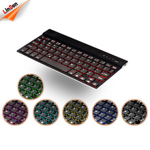 Ultra Slim 7 Colors LED Backlit 4mm Aluminum Wireless Mini Keyboard For iOS Android Windows Tablets and Smartphone