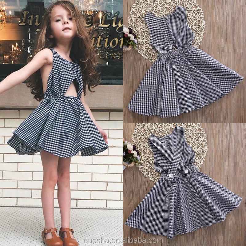 2017 new design Hot sale summer dress wholesale blue cotton clothing boutique custom kids girl daily wear dress