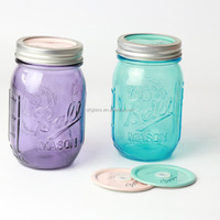 Custom Design 500ml 16oz Wide Mouth Purple Blue Ball Glass Mason Jar With Separates Lid