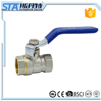 ART.1005 Water/oil/natural gas media and manual power DN40 brass ball valve with multi-functional with blue long handle for sale