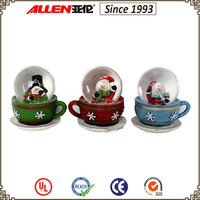 "2.8"" coffee cup stand snowman glass snow ball, christmas mini snow globe"