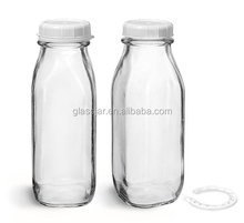16oz /500ml french fresh shape Clear Glass Tall Dairy Bottles for cold press juice with White Tamper Evident Caps