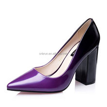 2017 spring Chunky Heel office ladies color change patent leather pumps shoes